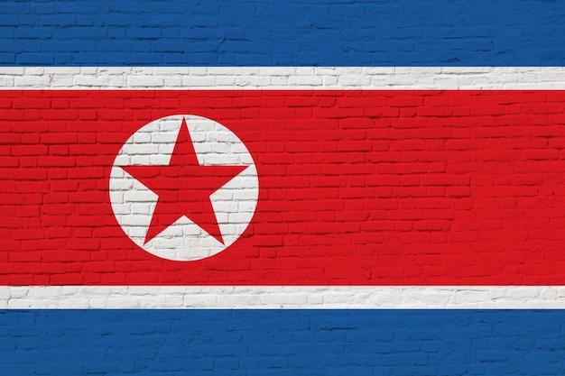 Bandiera della corea del nord dipinta sul muro di mattoni.