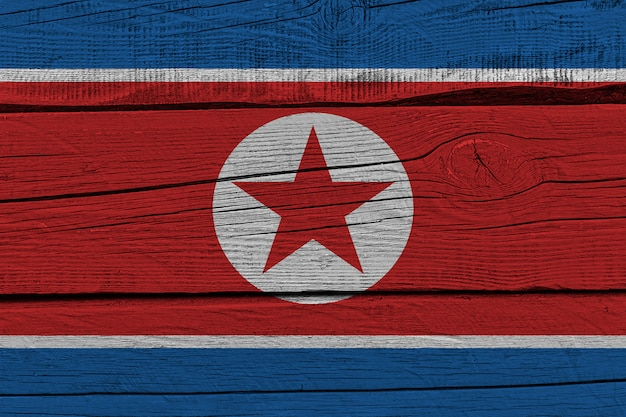 Bandiera della corea del nord dipinta sulla vecchia plancia di legno