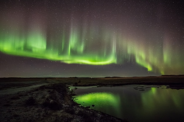Northern lights on cold iceland nights