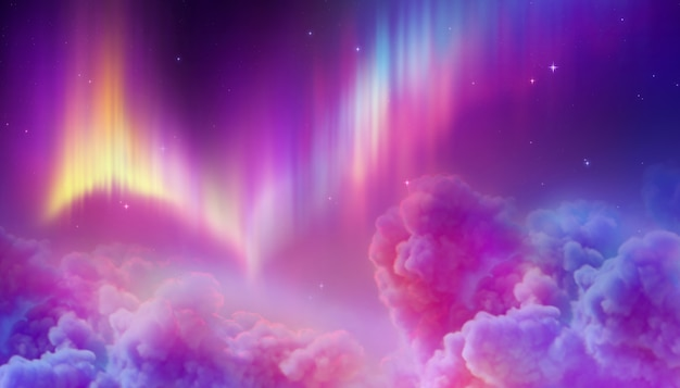 Aurora boreale nel cielo notturno polare,