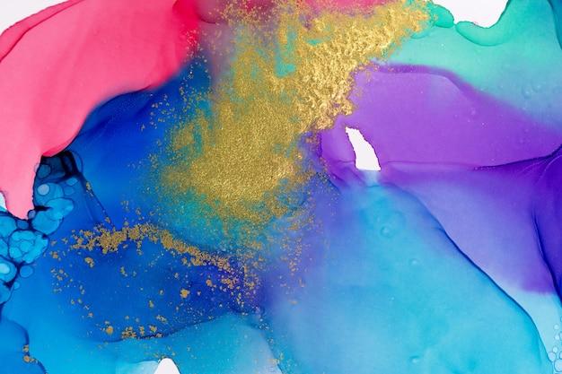 Colore sfumato imitazione acquerello dell'aurora boreale con illustrazione glitter oro