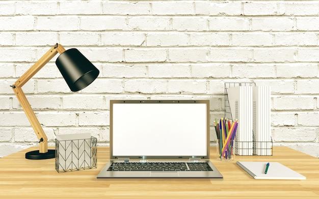 Esposizione del computer portatile per derisione sul tavolo di lavoro, rappresentazione 3d