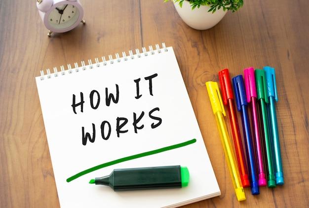 Un taccuino su una molla con il testo come funziona su un foglio bianco giace su un tavolo di legno marrone con penne colorate