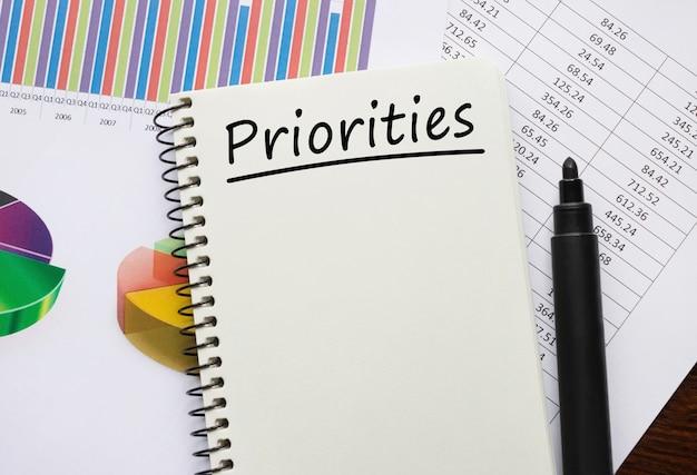 Notebook con strumenti di priorità e note, concetto di affari