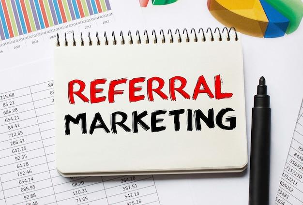 Notebook con strumenti e note sul marketing di riferimento