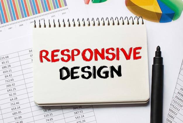 Notebook con strumenti e note sul responsive design