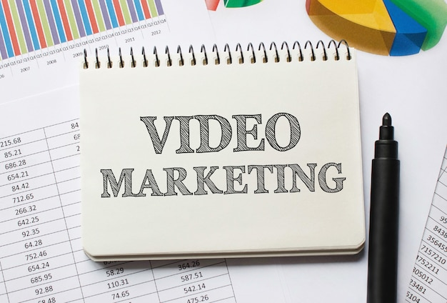 Notebook con strumenti e note sul marketing video, concetto