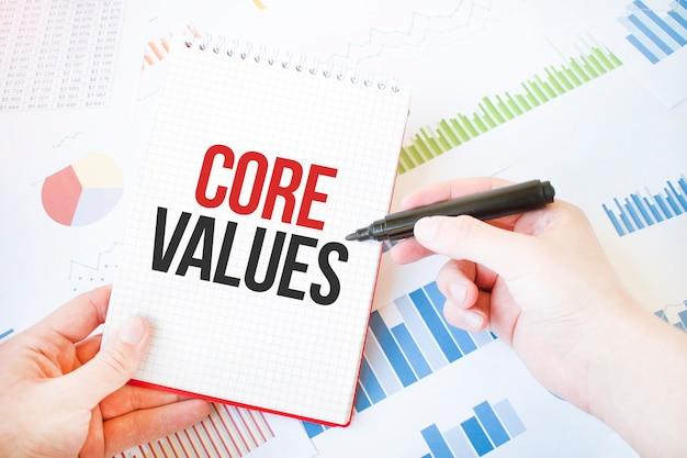Blocco note con testo valori fondamentali. diagramma e sfondo bianco