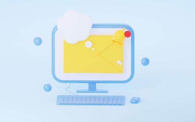 Busta di notifica nel rendering 3d del computer