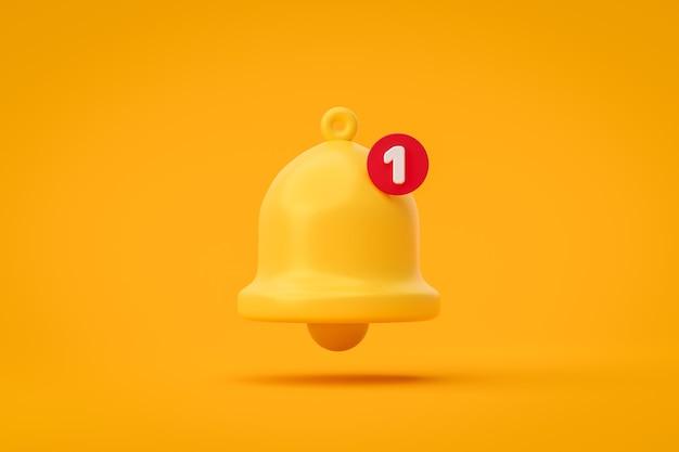 Avviso e allarme dell'icona della campana del messaggio di notifica su sfondo giallo