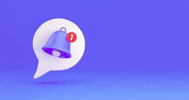 Avviso icona campana messaggio di notifica. fumetto 3d bianco con un campanello sulla notifica di una chiamata e sms. rendering 3d