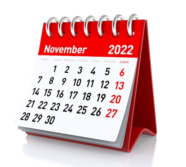 Novembre 2022 - calendario. isolato su sfondo bianco. illustrazione 3d