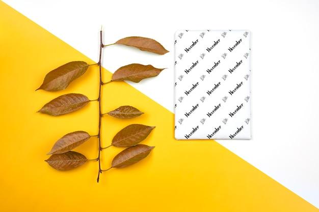 Modello di novembre su carta bianca e foglie secche