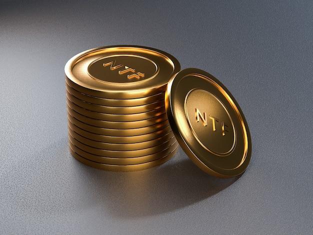 Token della moneta ntf sulla tabella grigia. token non rimborsabile. rendering 3d.