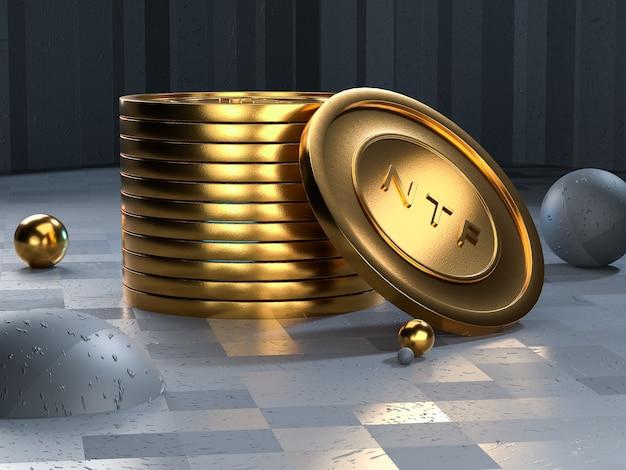 Gettone moneta ntf. token non rimborsabile. rendering 3d.
