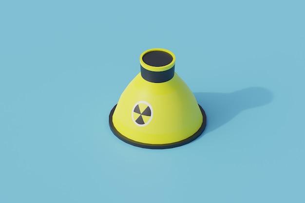 Nucleare singolo oggetto isolato. 3d render illustrazione isometrica