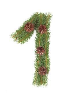 Numero 1 - fatto dell'albero di abete di natale su un bianco isolato