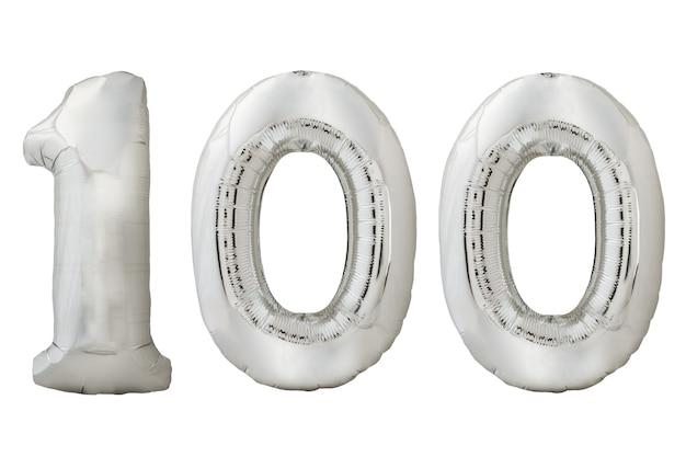 Palloncino d'argento numero 100 isolato su sfondo bianco