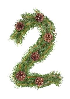 Numero 2 - fatto di albero di abete di natale su un bianco isolato