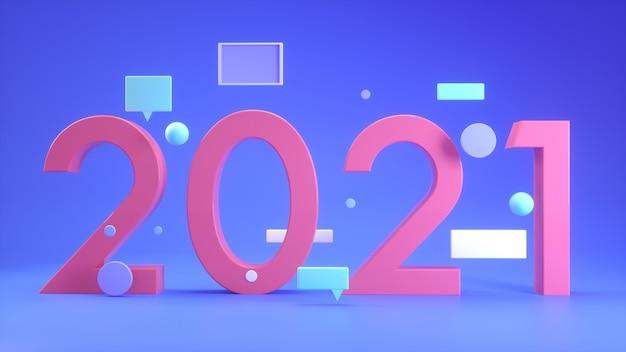 Numero 2021, concetto di nuovo anno, rendering 3d