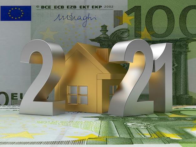 Numero 2021 con l'icona della casa d'oro sulle banconote in euro