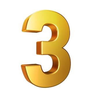 Numero 3, alfabeto. numero dorato 3d isolato su uno sfondo bianco con tracciato di ritaglio. illustrazione 3d.