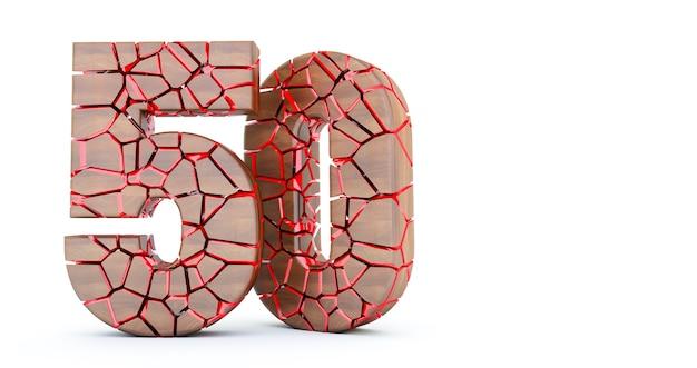 Numero 50. incrinato cinquanta di legno 50. numero cinquanta