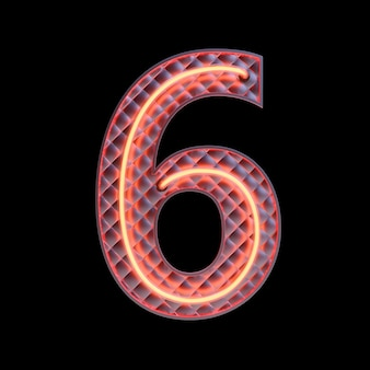 Numero 6, alfabeto. neon 3d retrò numero isolato su uno sfondo nero con tracciato di ritaglio. illustrazione 3d.