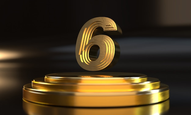 Numero 6 sopra il piedistallo triplo oro con sfondo scuro