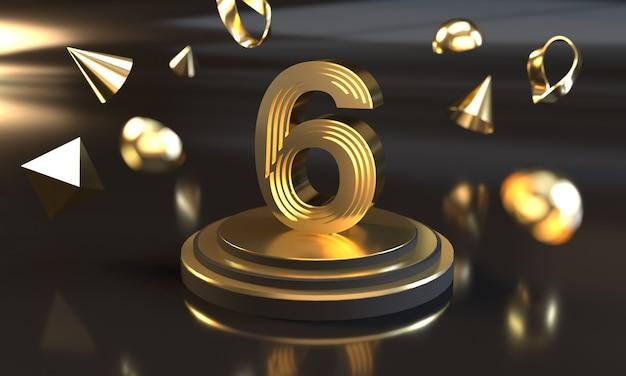Numero 6 con effetto stile dorato