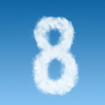Numero otto fatto di nuvole bianche sul cielo blu
