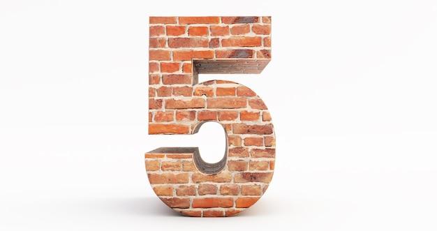 Il numero cinque. 5 font di mattoni su sfondo bianco. rendering 3d