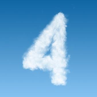 Numero quattro fatto di nuvole bianche sul cielo blu
