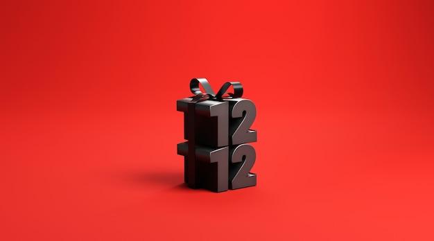 Numero confezione regalo sulla superficie rossa