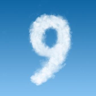 Numero nove fatto di nuvole bianche sul cielo blu