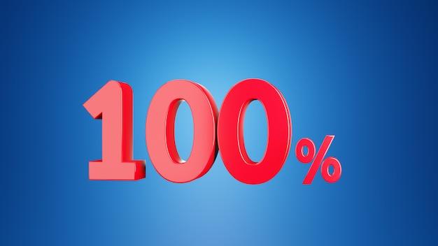 Numero cento per cento per sconto 100% o iva 100% concetto. 3d su sfondo blu rendering 3d