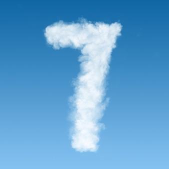 Numero sette fatto di nuvole bianche sul cielo blu