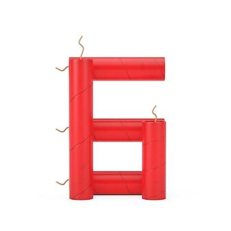 Numero sei o 6 come raccolta di numeri di alfabeto di bastoncini di dinamite su uno sfondo bianco. rendering 3d
