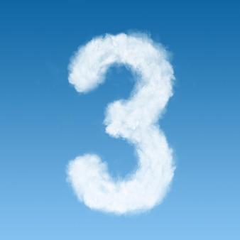 Numero tre fatto di nuvole bianche sul cielo blu