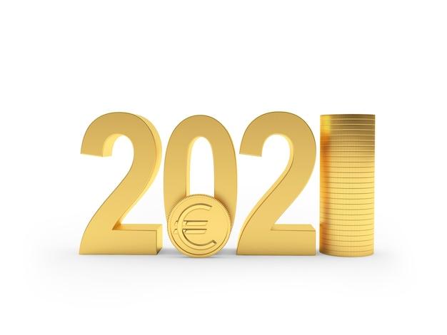 Numero con moneta in euro e pila di monete