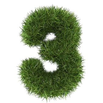 Numeri fatti di tappeto erboso di erba isolato