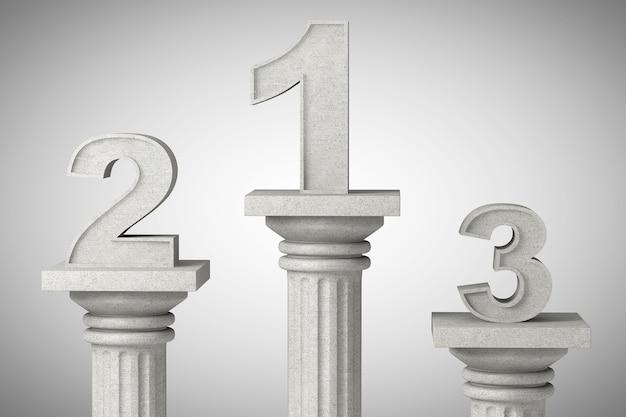 Numeri uno, due e tre su una colonna classica su uno sfondo di cemento