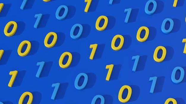 Numeri zero e 1. concetto di codice binario. sfondo blu. illustrazione astratta, rendering 3d.
