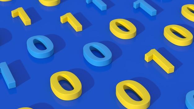 Numeri zero e uno. concetto di codice binario. sfondo blu. illustrazione astratta, rendering 3d, primo piano.