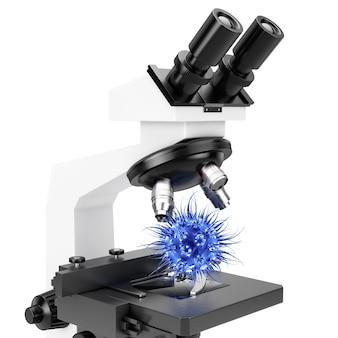 Lente obiettiva di microscopio e cellula virale blu o batteri su sfondo bianco. rendering 3d.