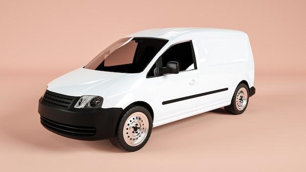 Aspetto obliquo di un'auto del trasporto pubblico per il mockup di visualizzazione. rendering