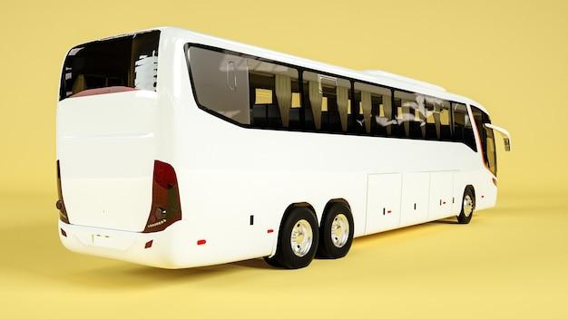 Vista obliqua del retro dell'autobus per il rendering del mockup del display