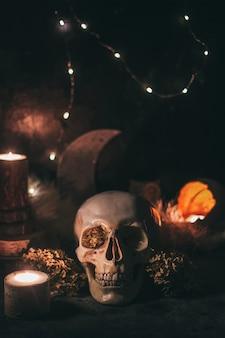 Scena di stregoneria di halloween rituale mistico occulto - cranio umano, candele, fiori secchi, luna e gufo.