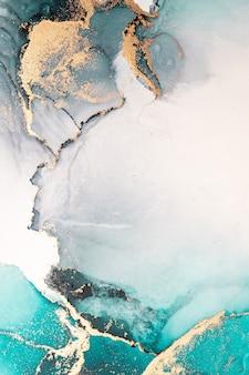 Fondo astratto blu oceano della pittura di arte dell'inchiostro liquido di marmo su carta.