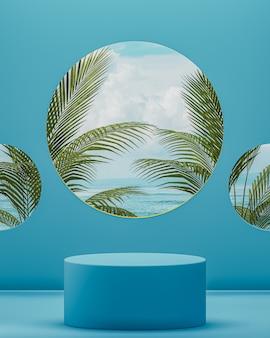 Podio oceano con sfondo blu tropicale con palme per il rendering 3d di posizionamento del prodotto